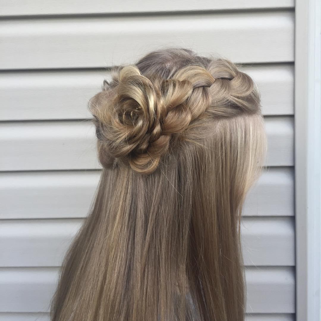 rose hair braid, wedding updo, wedding hair