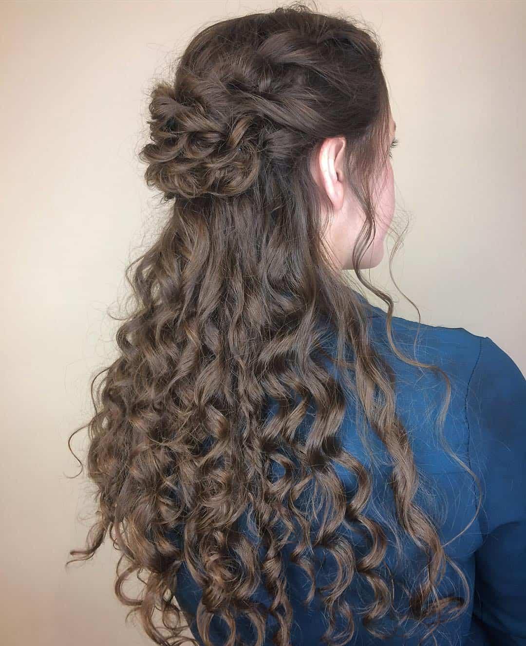 brunette hairdo, Aveda wedding hair