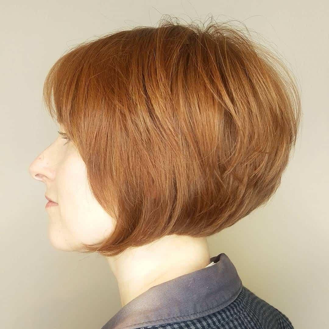 graduated bobs, natural red head haircut