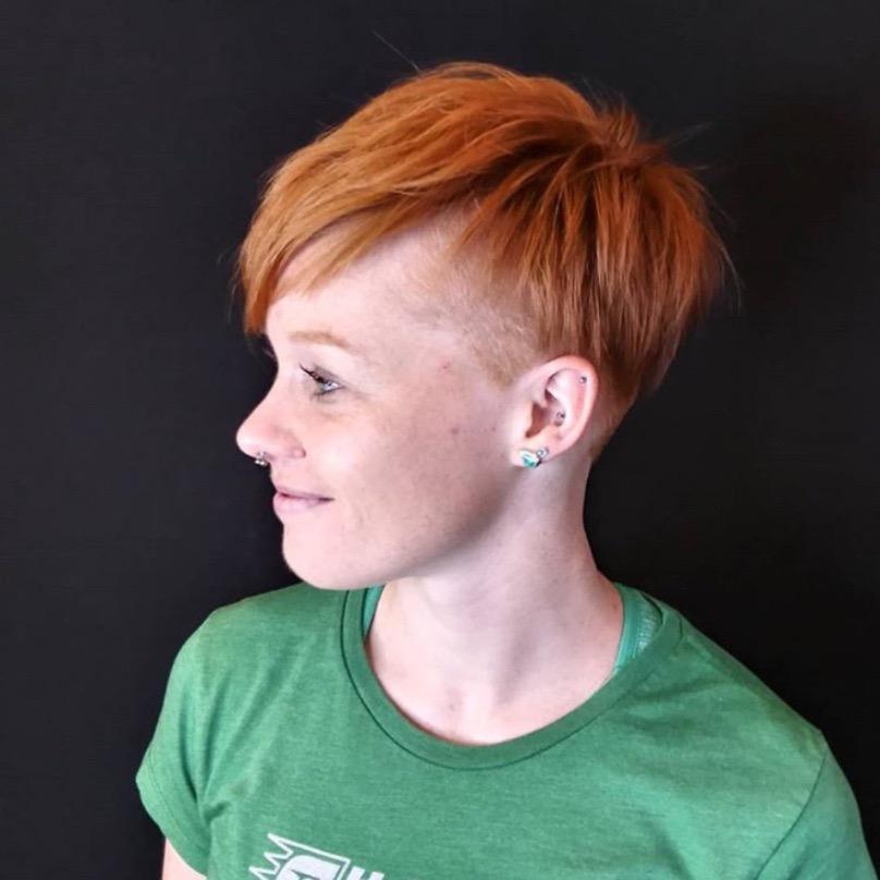 orange haircut woman
